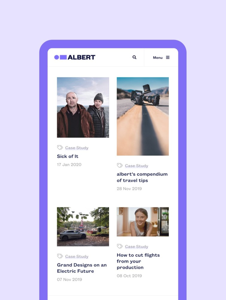 We Are Albert mobile screen