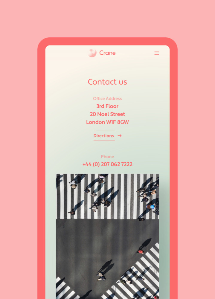 Crane VC Contact page on mobile