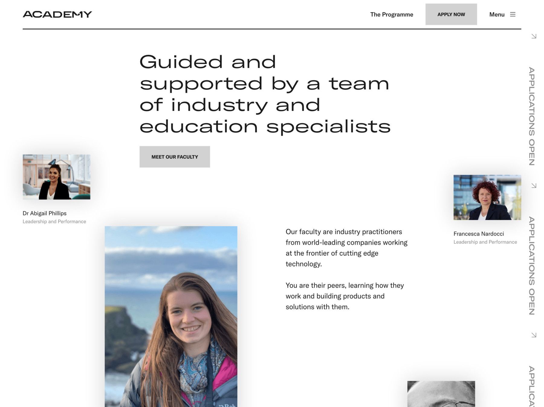 Academy Tech faculty page on tablet