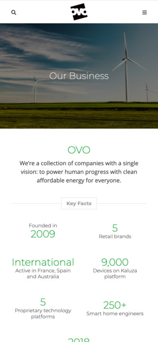OVO Group website on handheld device
